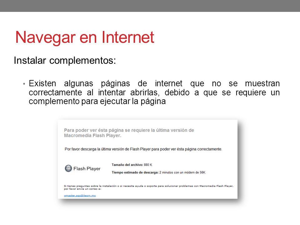 Navegar en Internet Instalar complementos: