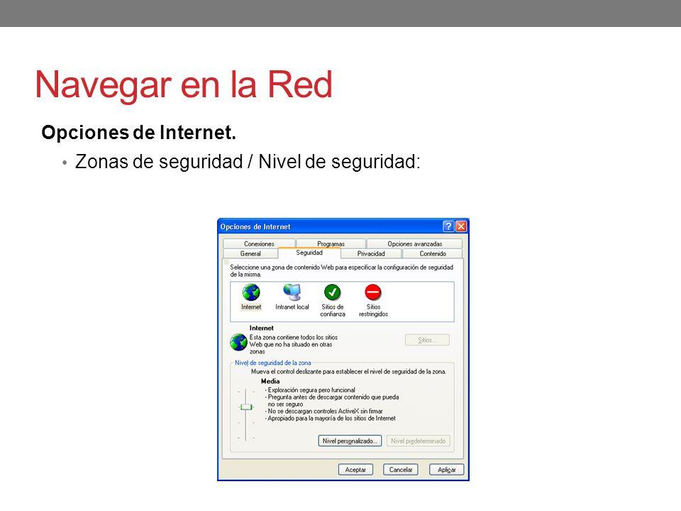 Navegar en la Red Opciones de Internet.