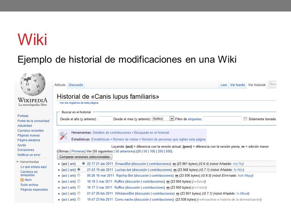 Wiki Ejemplo de historial de modificaciones en una Wiki