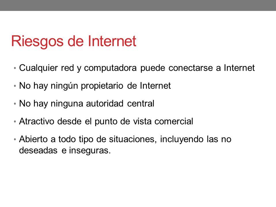 Riesgos de Internet Cualquier red y computadora puede conectarse a Internet. No hay ningún propietario de Internet.