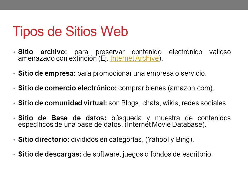 Tipos de Sitios Web Sitio archivo: para preservar contenido electrónico valioso amenazado con extinción (Ej. Internet Archive).