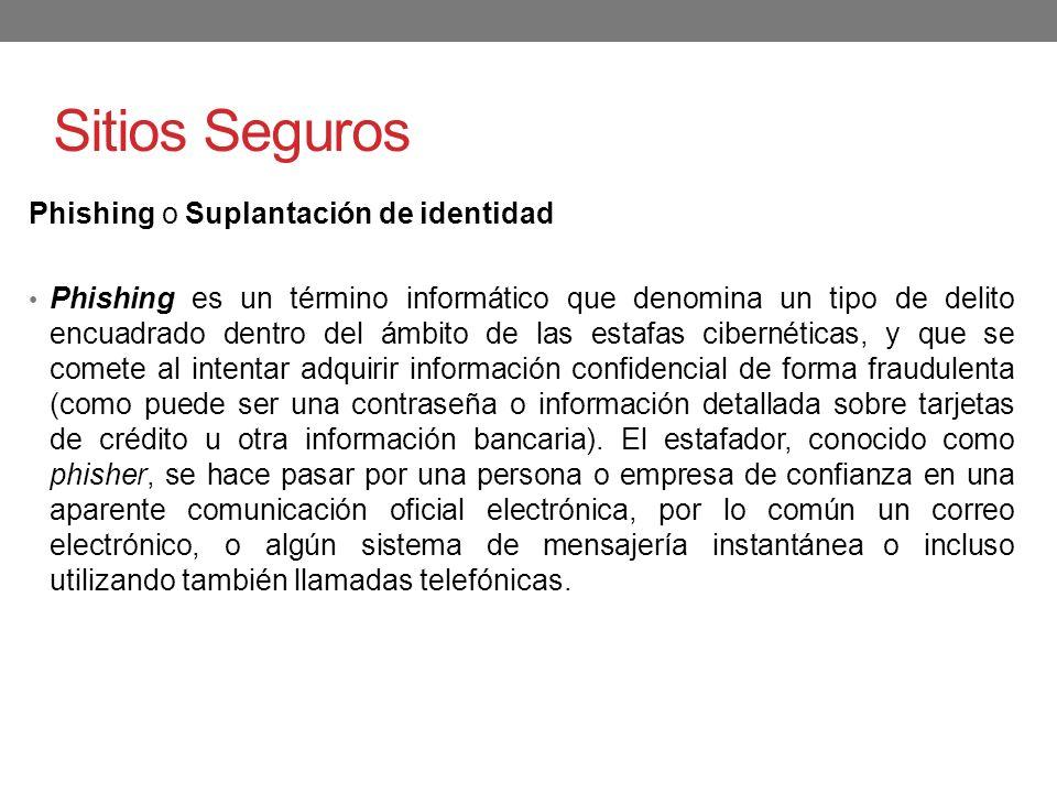 Sitios Seguros Phishing o Suplantación de identidad
