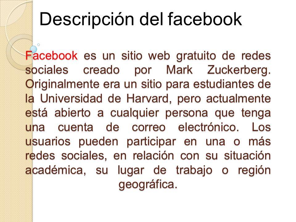 Descripción del facebook