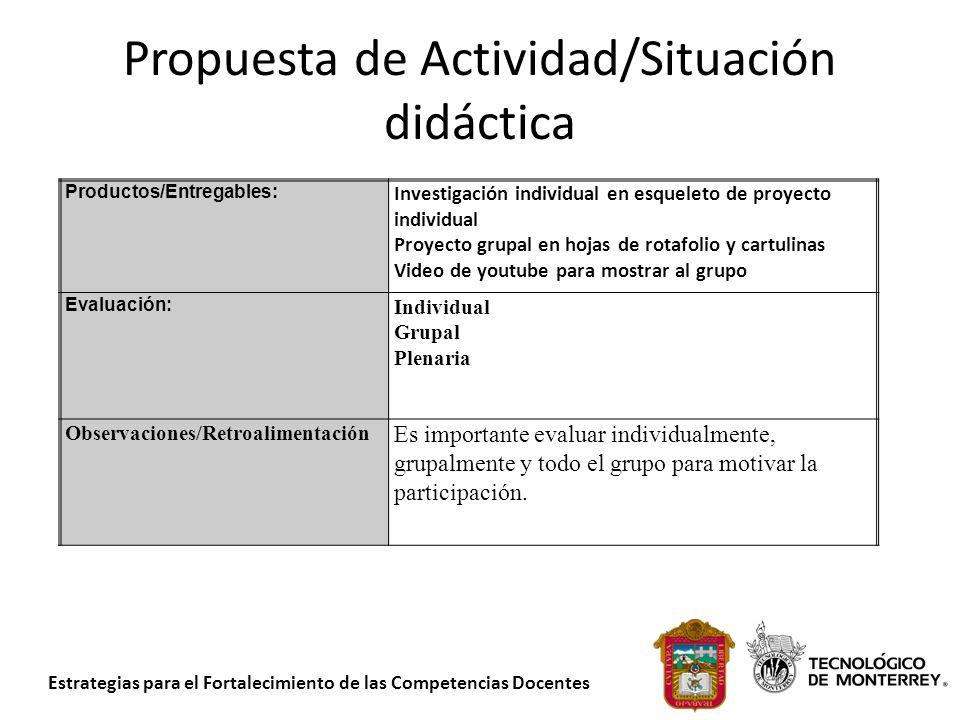 Propuesta de Actividad/Situación didáctica