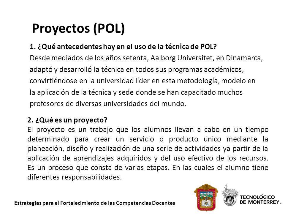 Proyectos (POL) 1. ¿Qué antecedentes hay en el uso de la técnica de POL Desde mediados de los años setenta, Aalborg Universitet, en Dinamarca,