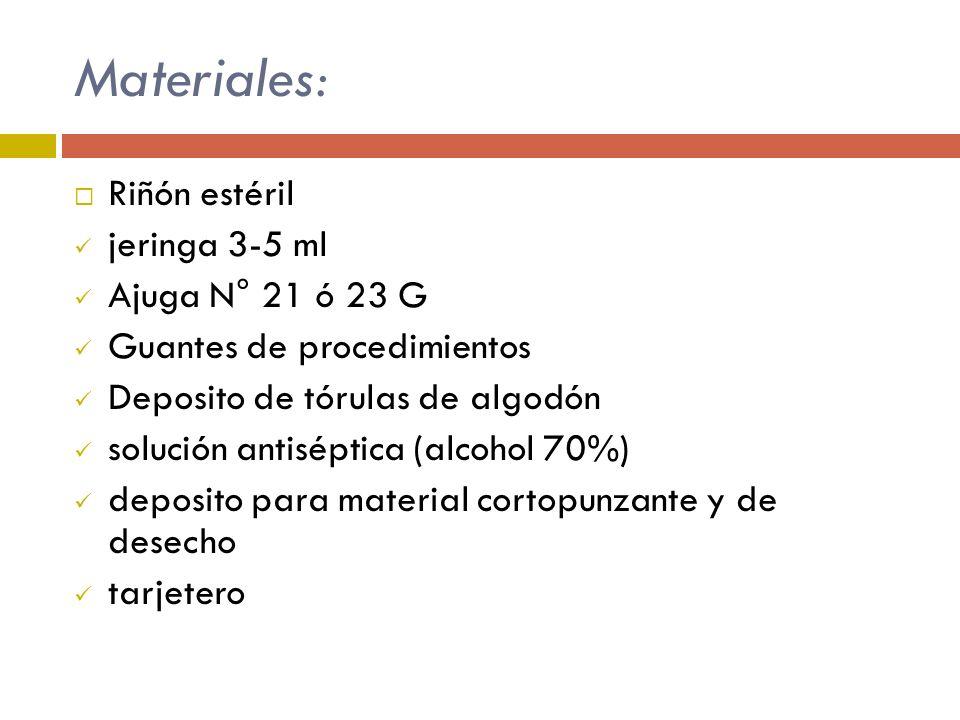 Materiales: Riñón estéril jeringa 3-5 ml Ajuga N° 21 ó 23 G