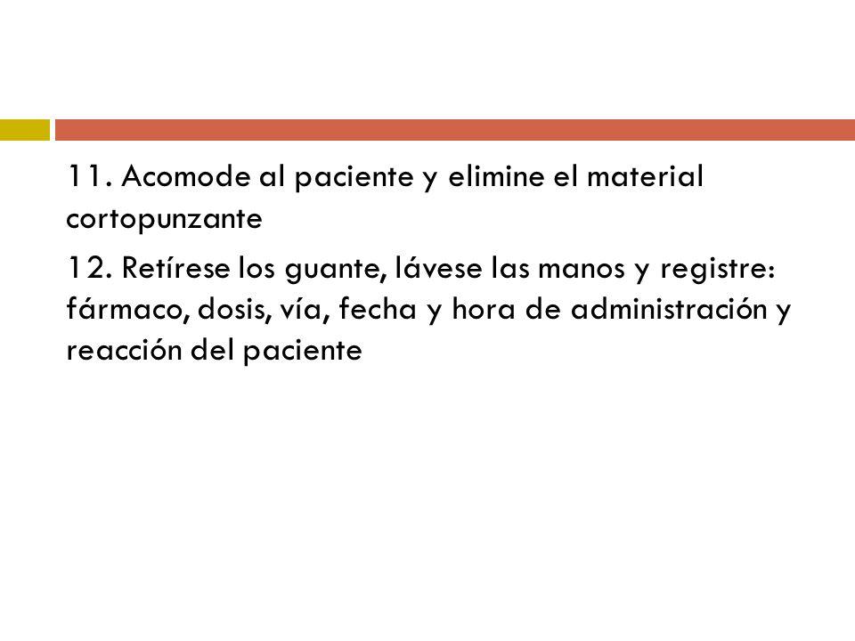 11. Acomode al paciente y elimine el material cortopunzante