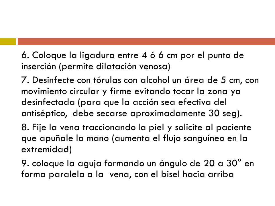 6. Coloque la ligadura entre 4 ó 6 cm por el punto de inserción (permite dilatación venosa)