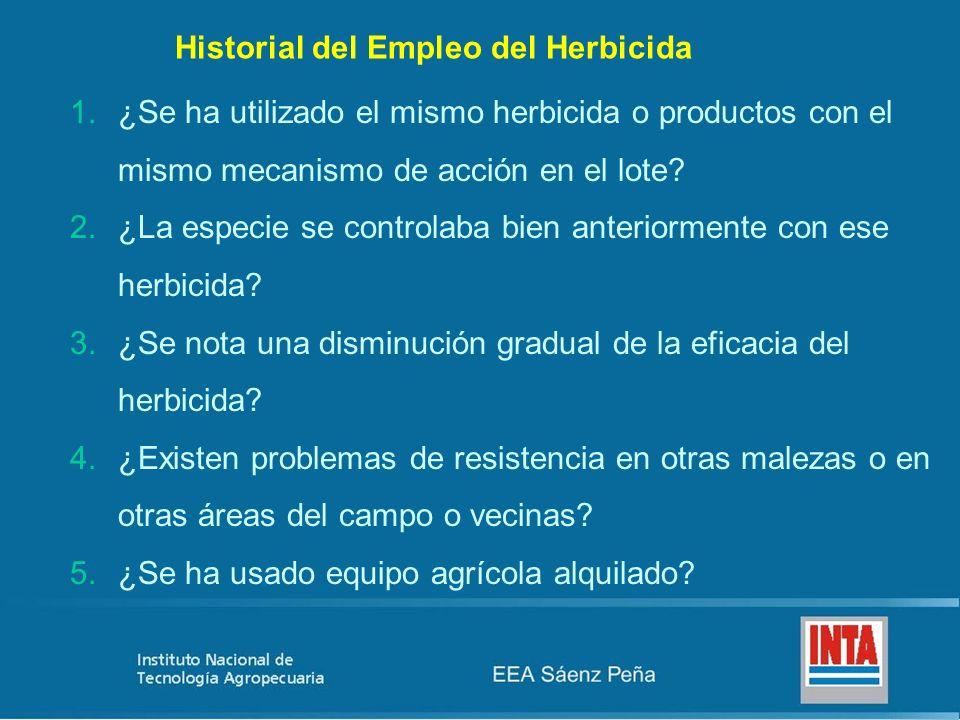 Historial del Empleo del Herbicida