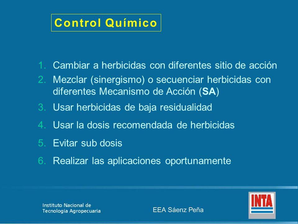 Control Químico Cambiar a herbicidas con diferentes sitio de acción