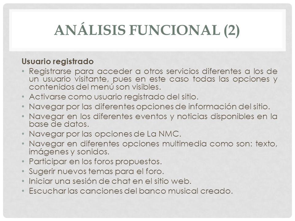 ANÁLISIS FUNCIONAL (2) Usuario registrado