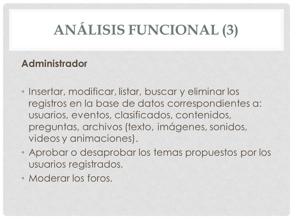 ANÁLISIS FUNCIONAL (3) Administrador