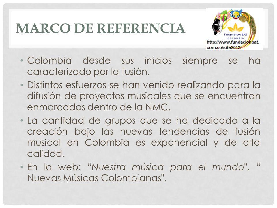 MARCO DE REFERENCIA Colombia desde sus inicios siempre se ha caracterizado por la fusión.