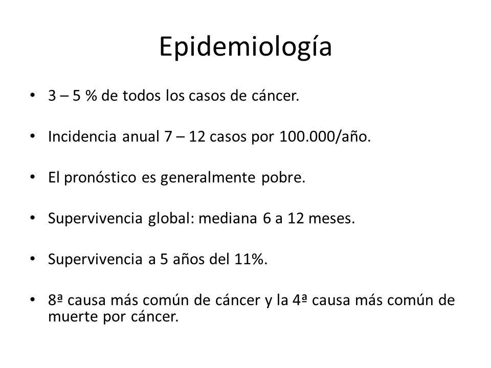 Epidemiología 3 – 5 % de todos los casos de cáncer.