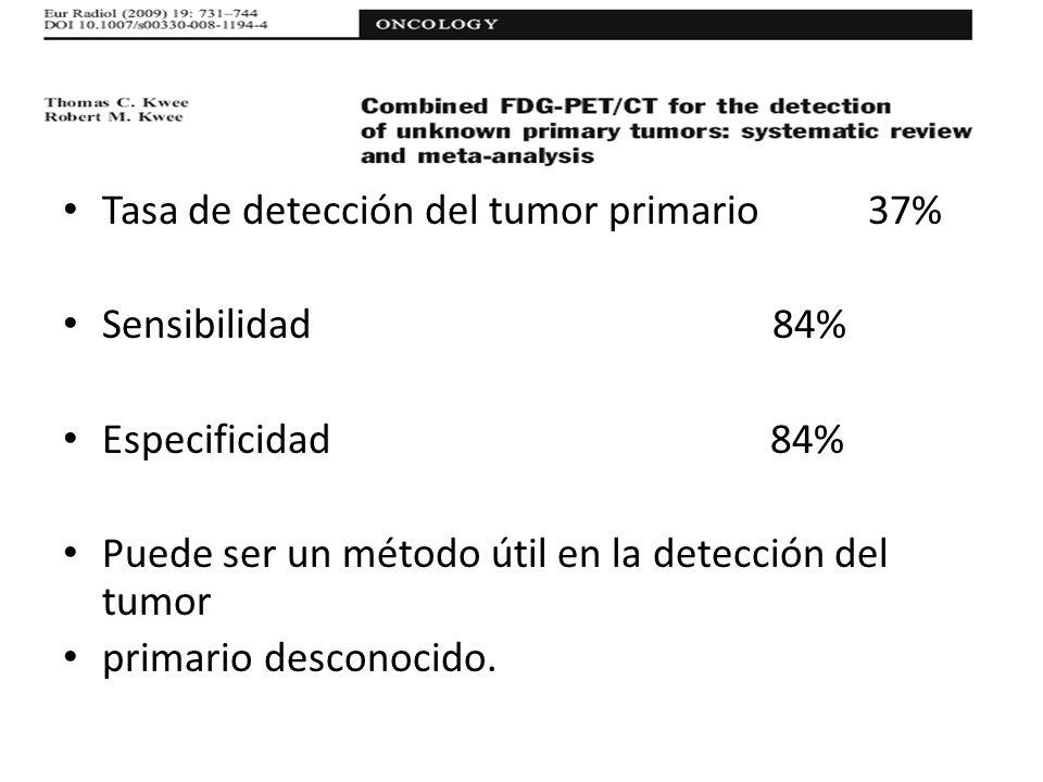 Tasa de detección del tumor primario 37%