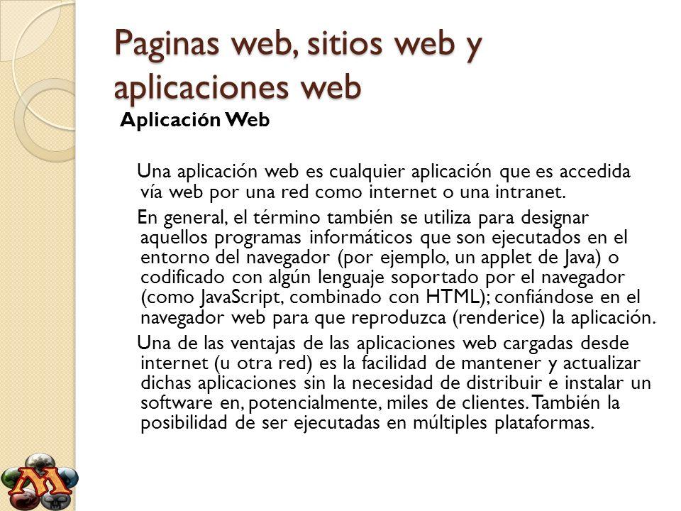 Paginas web, sitios web y aplicaciones web