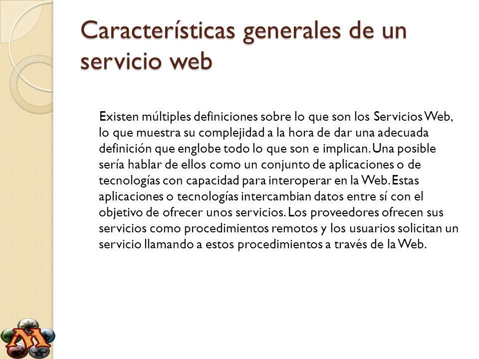 Características generales de un servicio web