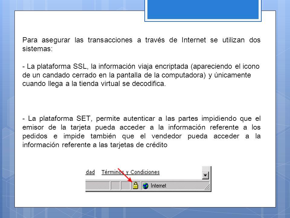 Para asegurar las transacciones a través de Internet se utilizan dos sistemas: