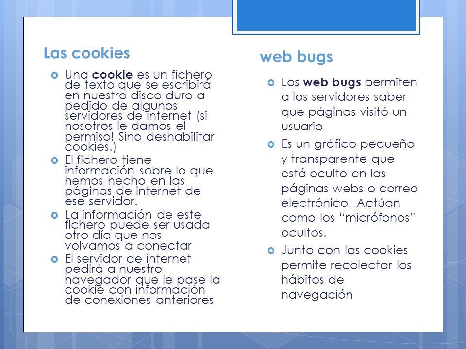 Las cookies web bugs.