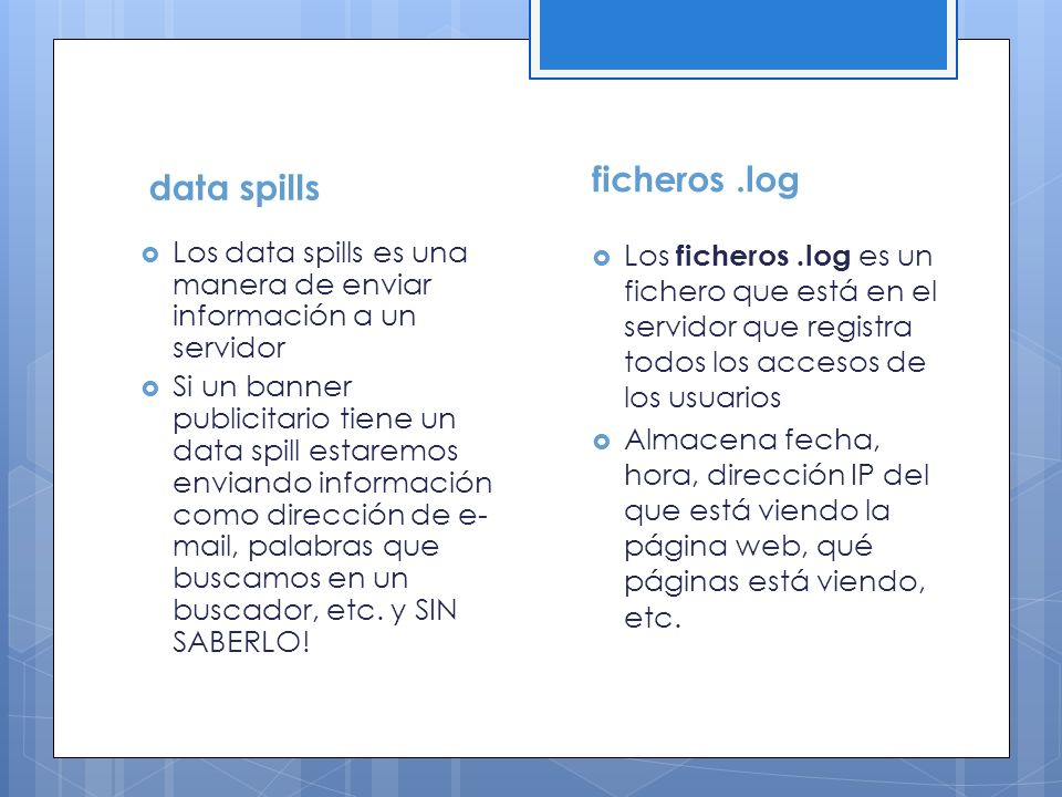 ficheros .log data spills