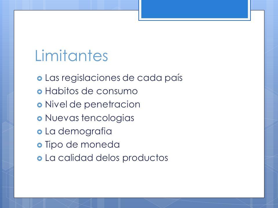 Limitantes Las regislaciones de cada país Habitos de consumo