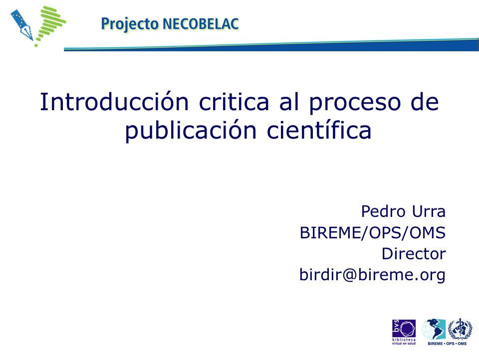 Introducción critica al proceso de publicación científica