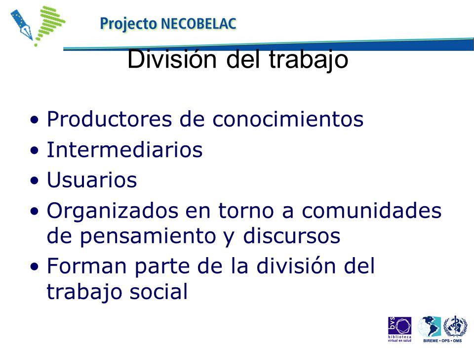 División del trabajo Productores de conocimientos Intermediarios