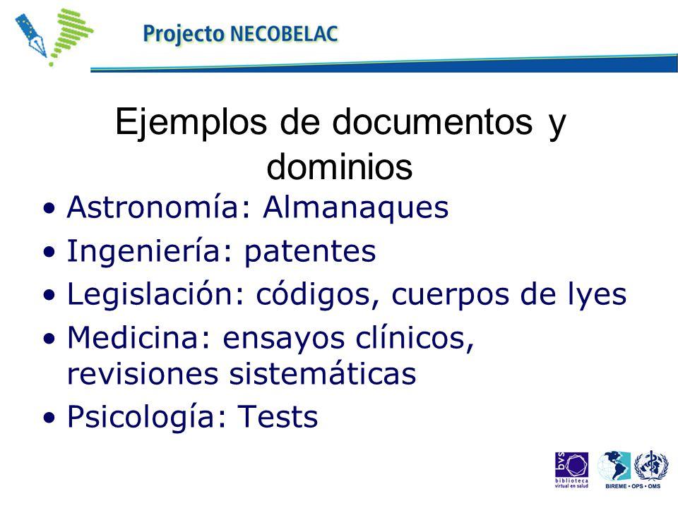 Ejemplos de documentos y dominios