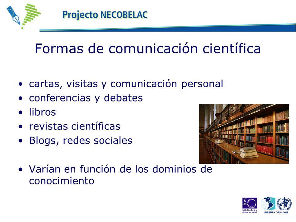 Formas de comunicación científica