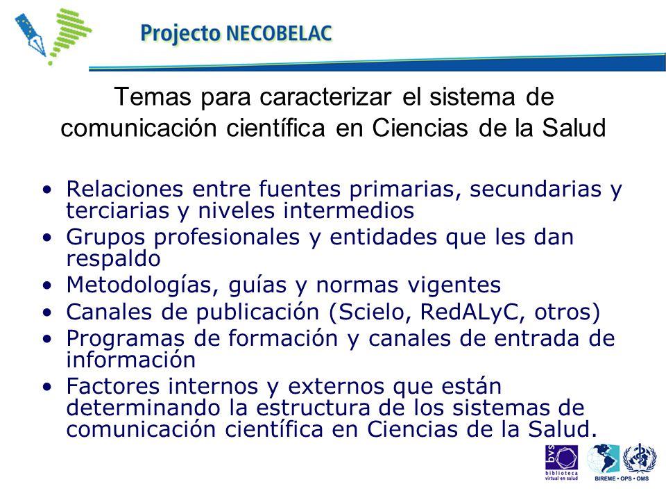 Temas para caracterizar el sistema de comunicación científica en Ciencias de la Salud