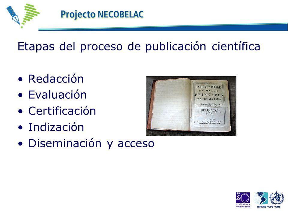 Etapas del proceso de publicación científica