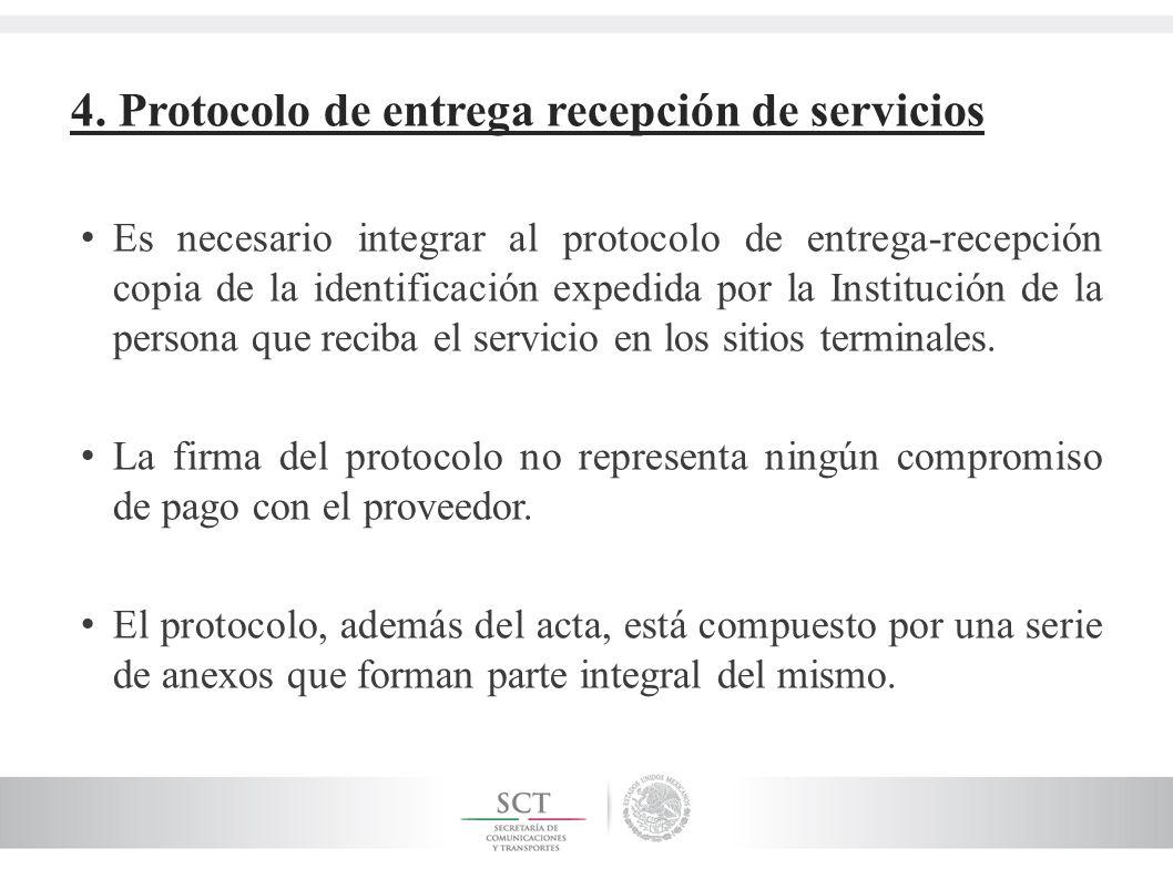 4. Protocolo de entrega recepción de servicios