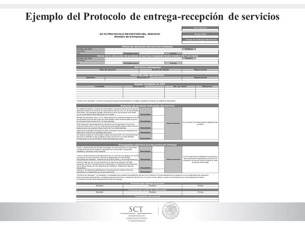 Ejemplo del Protocolo de entrega-recepción de servicios