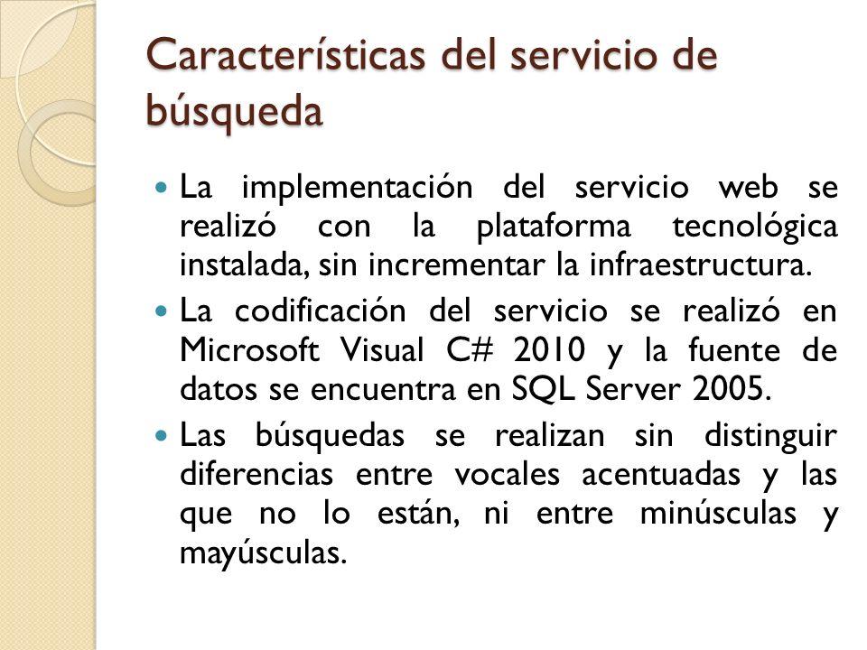 Características del servicio de búsqueda