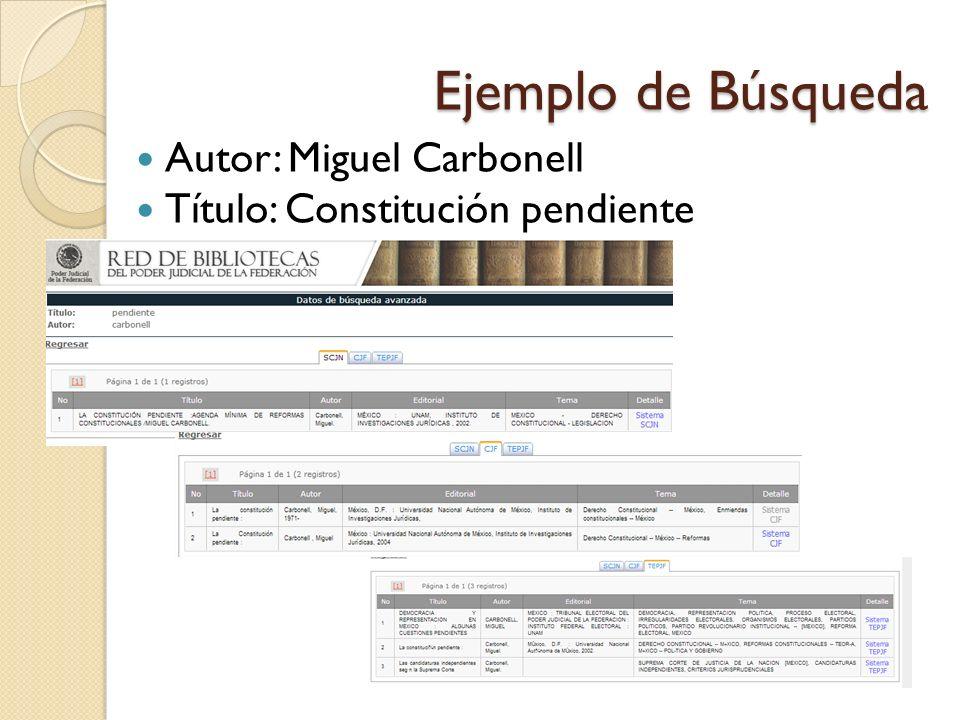 Ejemplo de Búsqueda Autor: Miguel Carbonell