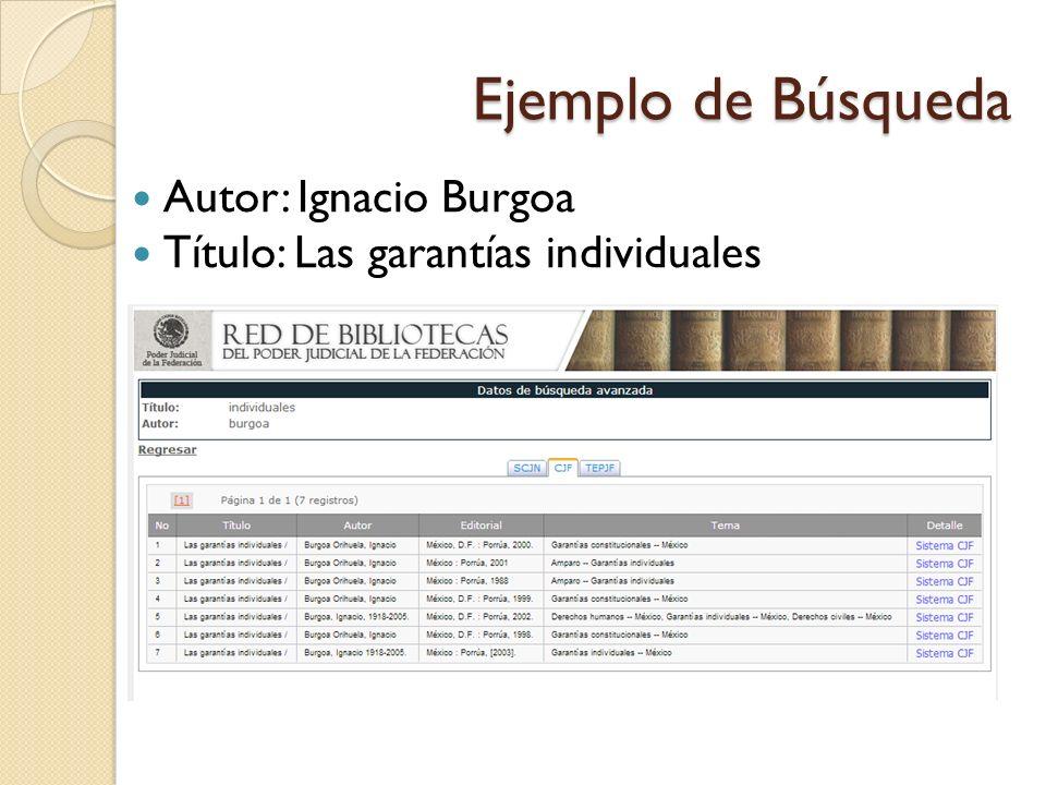 Ejemplo de Búsqueda Autor: Ignacio Burgoa