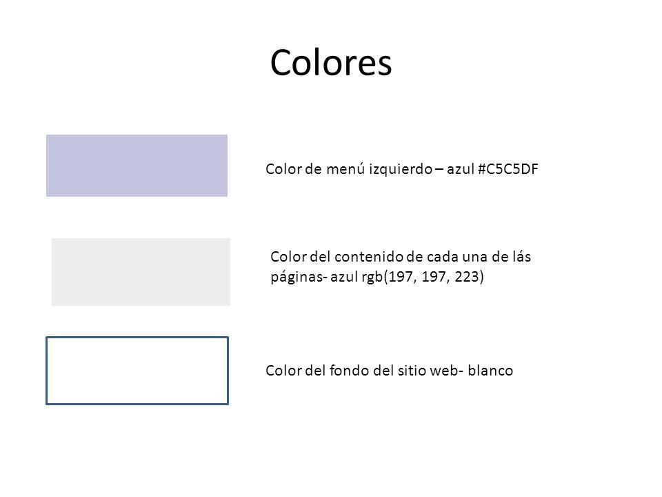 Colores Color de menú izquierdo – azul #C5C5DF