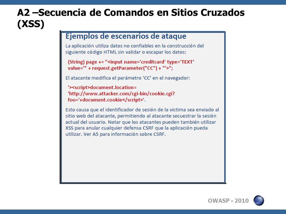 A2 –Secuencia de Comandos en Sitios Cruzados (XSS)