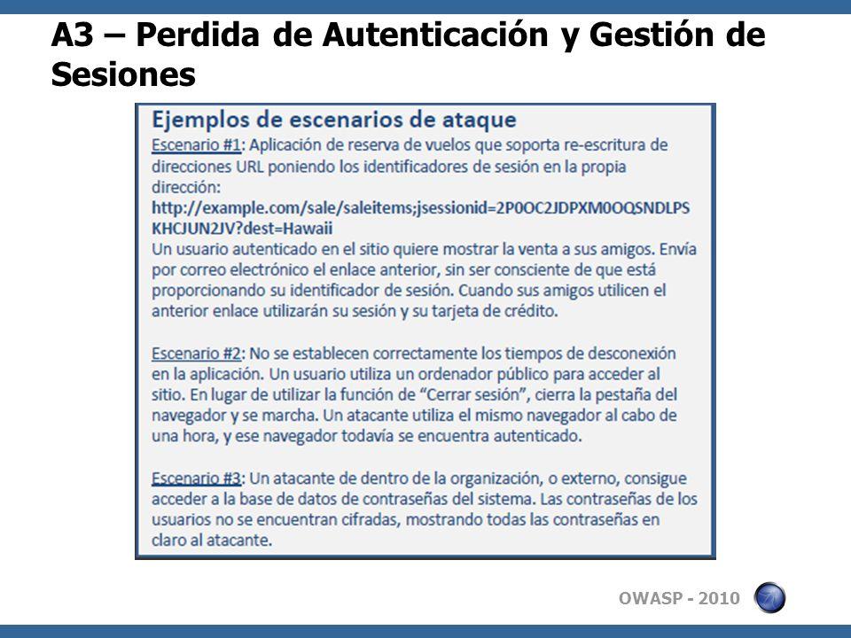A3 – Perdida de Autenticación y Gestión de Sesiones