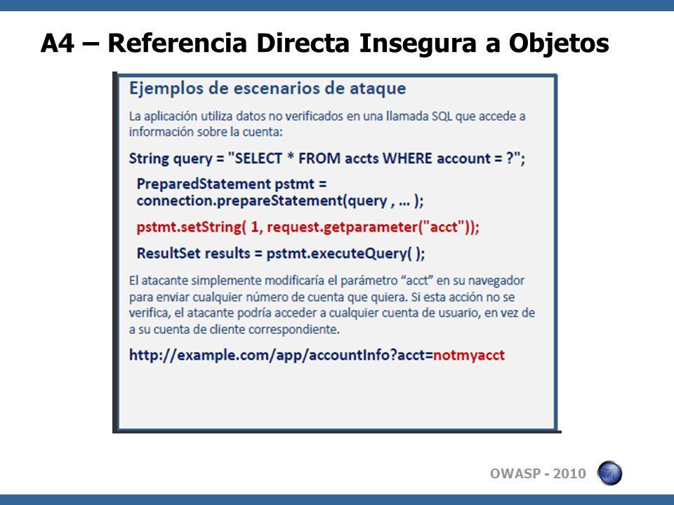 A4 – Referencia Directa Insegura a Objetos