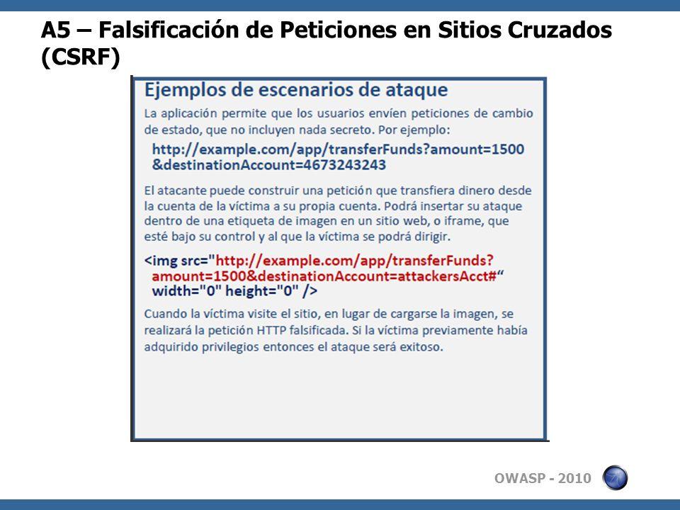 A5 – Falsificación de Peticiones en Sitios Cruzados (CSRF)