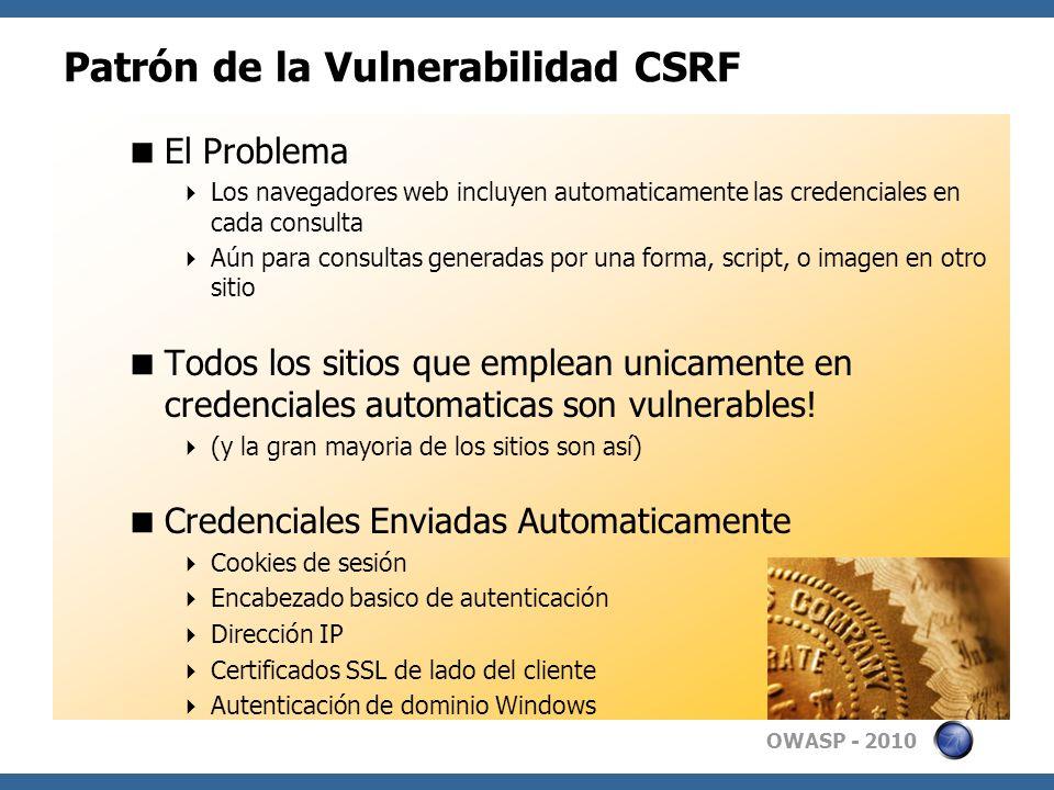 Patrón de la Vulnerabilidad CSRF