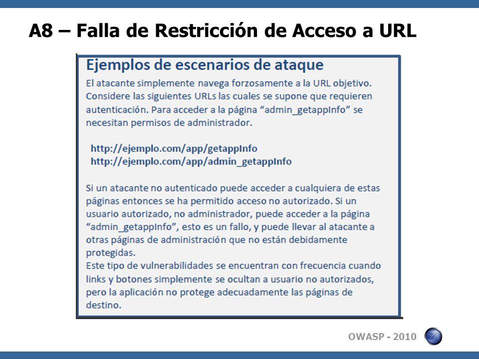 A8 – Falla de Restricción de Acceso a URL