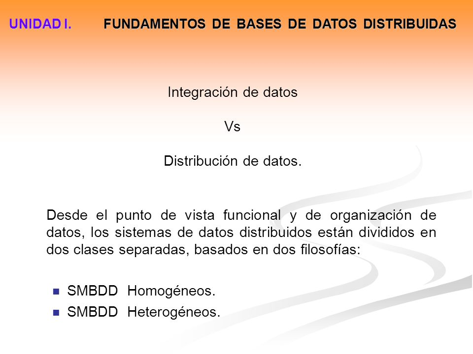 Integración de datos Vs Distribución de datos.