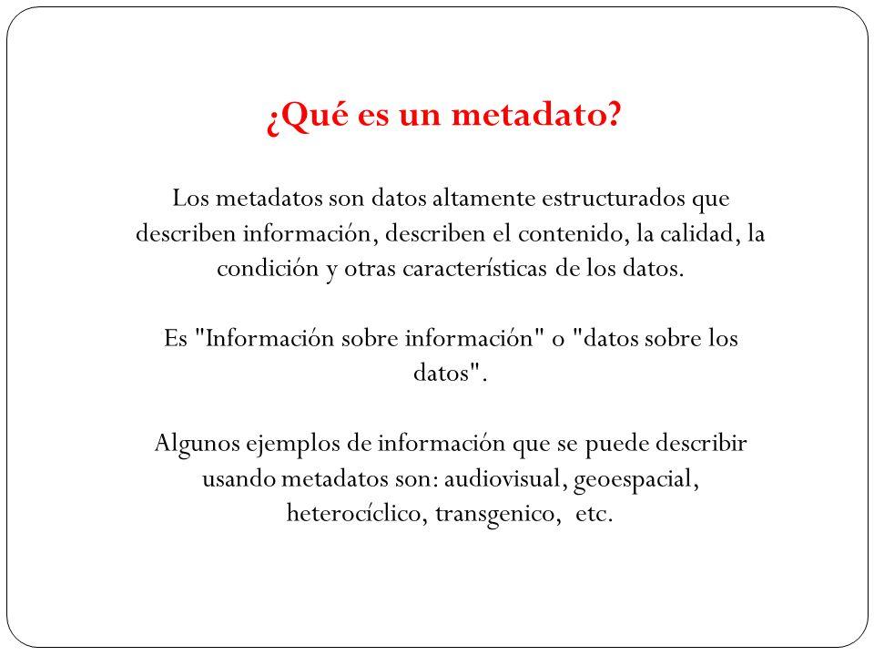 Es Información sobre información o datos sobre los datos .