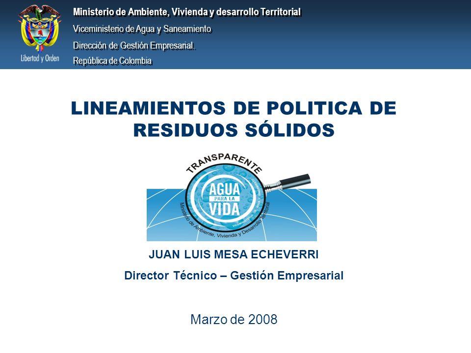 LINEAMIENTOS DE POLITICA DE RESIDUOS SÓLIDOS