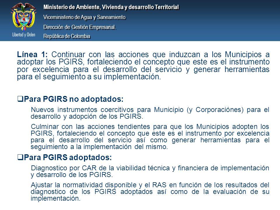 Para PGIRS no adoptados: