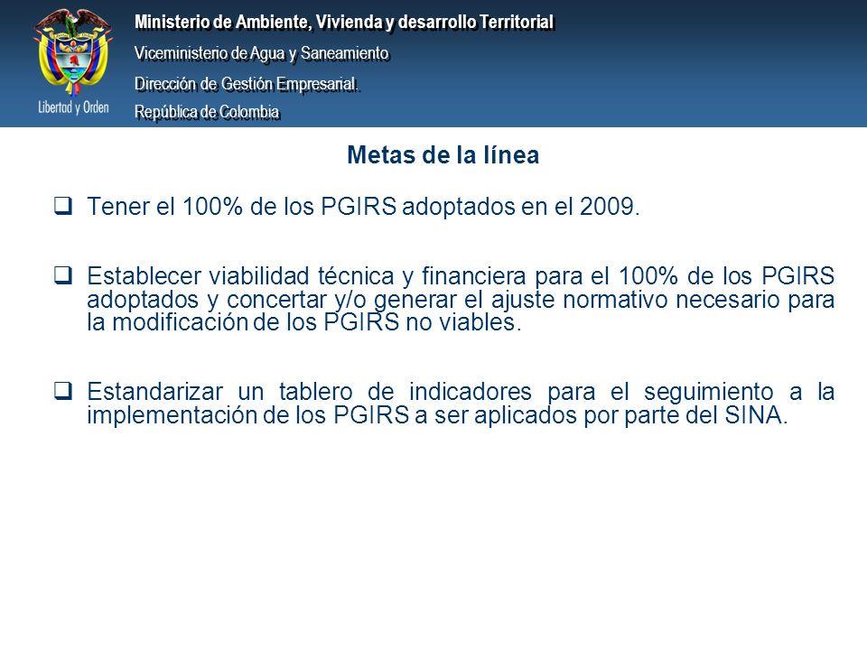 Metas de la línea Tener el 100% de los PGIRS adoptados en el 2009.