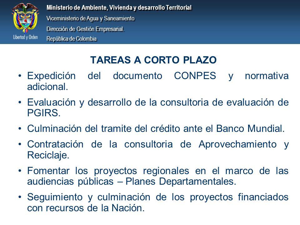 TAREAS A CORTO PLAZO Expedición del documento CONPES y normativa adicional. Evaluación y desarrollo de la consultoria de evaluación de PGIRS.