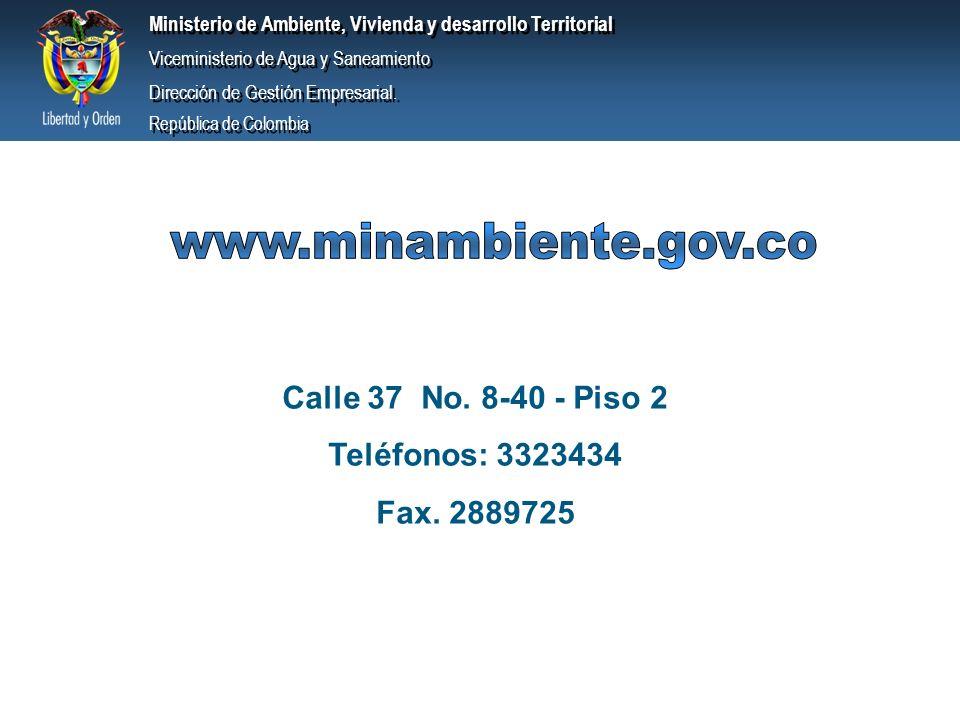 www.minambiente.gov.co Calle 37 No. 8-40 - Piso 2 Teléfonos: 3323434